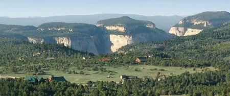 Views over Zion Ponderosa Ranch Resort toward Zion National Park