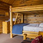 Wooden bunkbeds in log cabin near Zion National Park