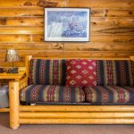 Wood couch in cowboy cabin near Zion