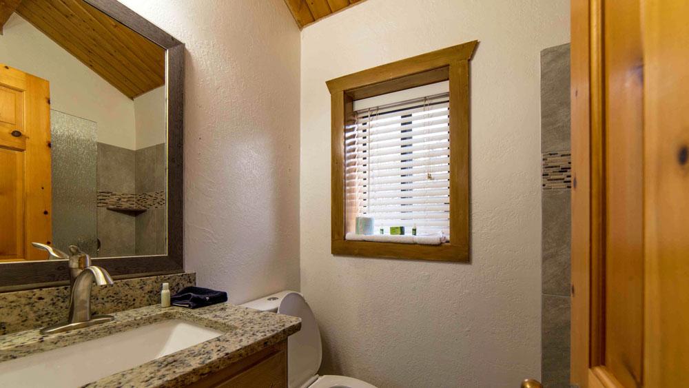 Interior of bathroom in log cabin suite