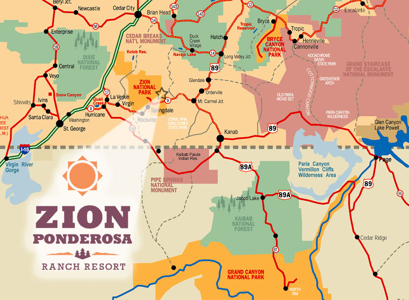 Directions To Zion Ponderosa Ranch Resort Zion Ponderosa - Map of zion national park