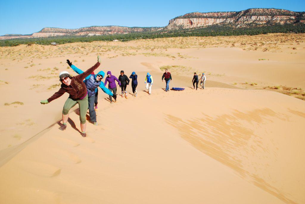 Sledding at Coral Pink Sand Dunes State Park