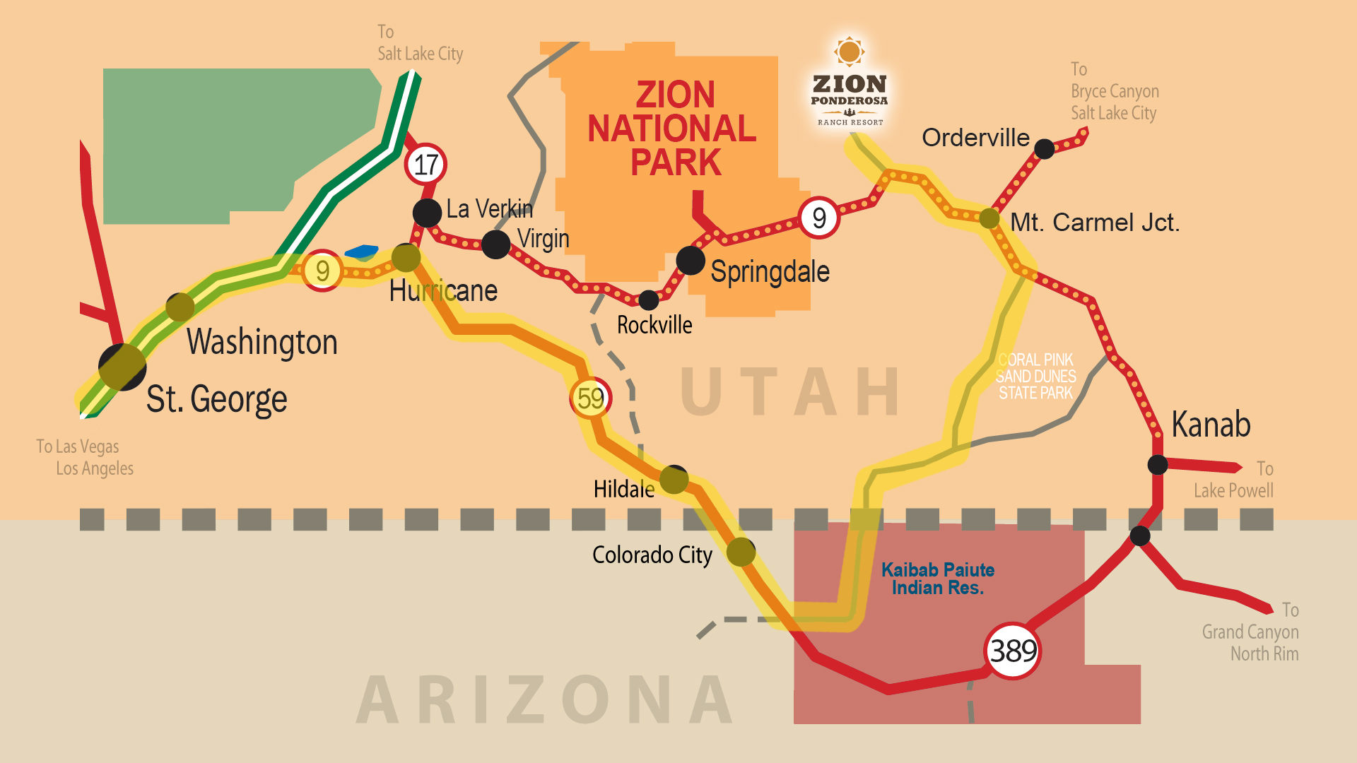 Zion Ponderosa Ranch Resort Location | Directions & Map on grand canyon map, zion cabin rentals, grand staircase escalante national monument map, zion river, zion flood, st george arizona map, zion campgrounds, zion lodge rooms, zion ut, zion trails, new mexico arizona california map, zion name, zion hiking, zion arizona, zion cave, mt wilhelm map, zion park lodge, zion temple mount, zion hikes, zion wildlife,