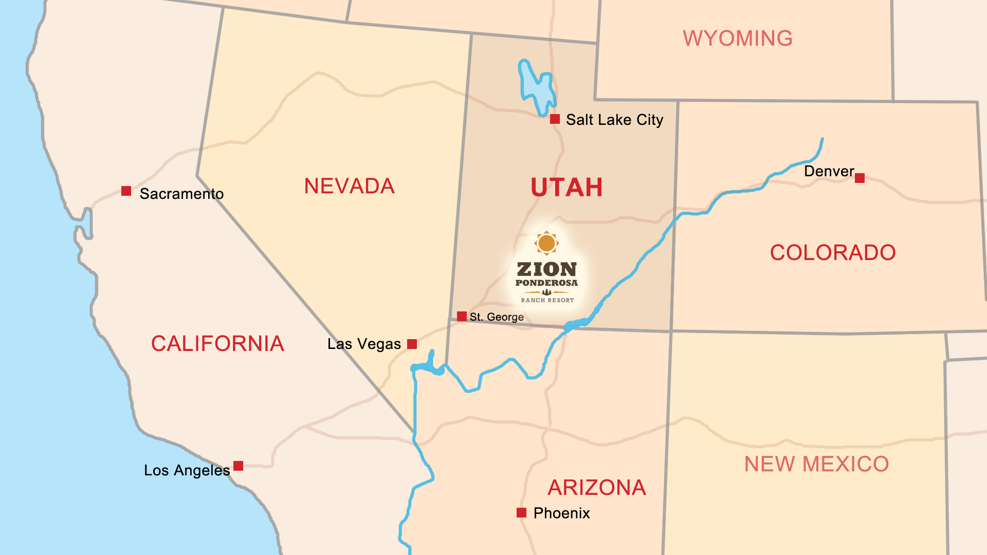 Map of the Western United States. Zion Ponderosa Ranch Resort Location