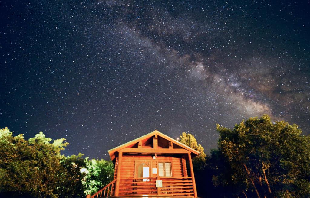 zion ponderosa cabin at night
