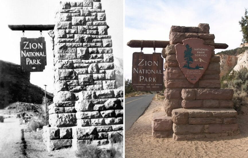 Zion National Park sign then and now